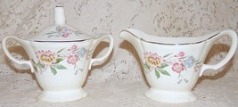 Edwin M Knowles China Co Creamer & Sugar Bowl w/Lid Floral Blue Pink Yel... - $19.99