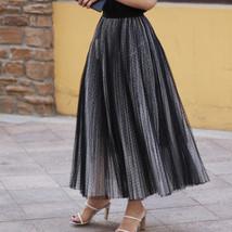 Black Polka Dot Tulle Skirt Black Pleated Tulle Midi Skirt image 1