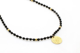 gold necklace,coin necklace,beaded necklace,hammered necklace - $84.00+