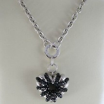 Necklace Silver 925, Rolo ' with Heart Pendant Milled and Spinel Black image 2