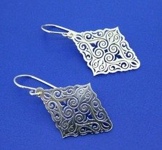 935 Sterling Diamond Shaped Laser Cut Earrings (#J4406) - $150.00