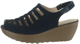 Skechers Suede Peep-toe Sling-back Wedges Trapezoid Navy 8.5M NEW A287042 - $49.48