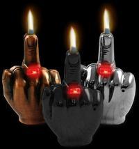 Middle Finger Refillable Lighter Adjustable Regular Flame - 1 w/ Random Color image 3