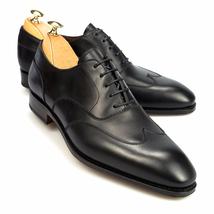 Handmade Men's Black Wing Tip Slip Ons Dress/Formal Oxford Leather Shoes image 1