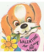 Vintage Valentine Card Beagle Dog with Daisy in Mouth Unused Die Cut for... - $5.93
