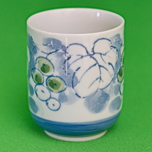 Nice Asian Porcelain Tea Cup, No Handles, Grapes And Leaves Design - $1.95