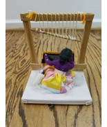 American Indian Doll Woman Weaving Rug on Loom with Papoose vintage - $29.00