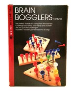 Brain Bloggers 3 Classic Wooden Games Puzzles Insanity Tic Tac Toe Mind ... - $14.84