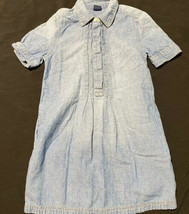 GapKids Youth Girls Denim Chambray Dress Pleated Front Pockets Short Sle... - $9.90