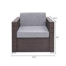 6 Pieces Patio PE Wicker Rattan Corner Sofa Set image 3