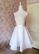 White Tulle Midi Skirt Women Knee Length White Tutu Skirt Outfit Street Style image 5