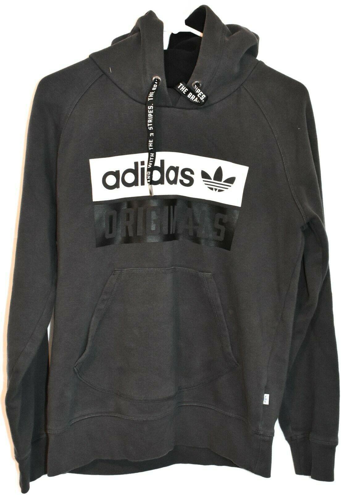 adidas Originals Women's Dark Gray Logo Graphic Hooded Hoodie Sweatshirt Size M