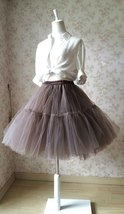 Lady MESH TULLE SKIRT Knee Length Layer Tulle Skirt Princess Skirt Crinolines  image 7