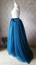 PEACOCK BLUE Extra Long Women's Tulle Puffy Skirt High Waist Tulle Bridal Skirt  image 2
