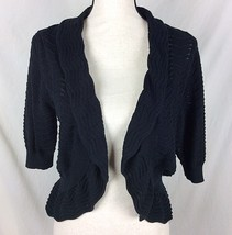 Thesis Open Front Cardigan Sweater Size Large Black Crop Scalloped Croch... - $11.88