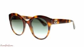 Gucci Women Round Sunglasses GG0028S 002 Havana  Green Lens 52mm Authentic - $193.03