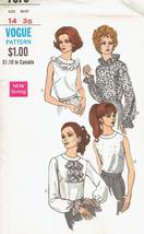 Vintage Blouse Misses size 14 Bust 36 Vogue 7375 Sewing Pattern Uncut - $7.99