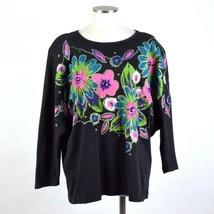 Vtg 90s Glitter Floral Painted Sweatshirt Top Boxy Oversized Shirt Women... - $19.79