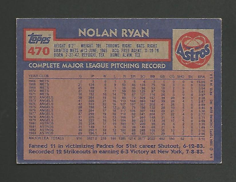 1984 Topps # 470 -  Nolan Ryan - Houston Astros – Mint