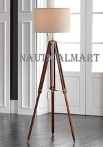 Designer Cherry Finish Tripod Floor Lamp For Living Room By Nauticalmart - $197.01