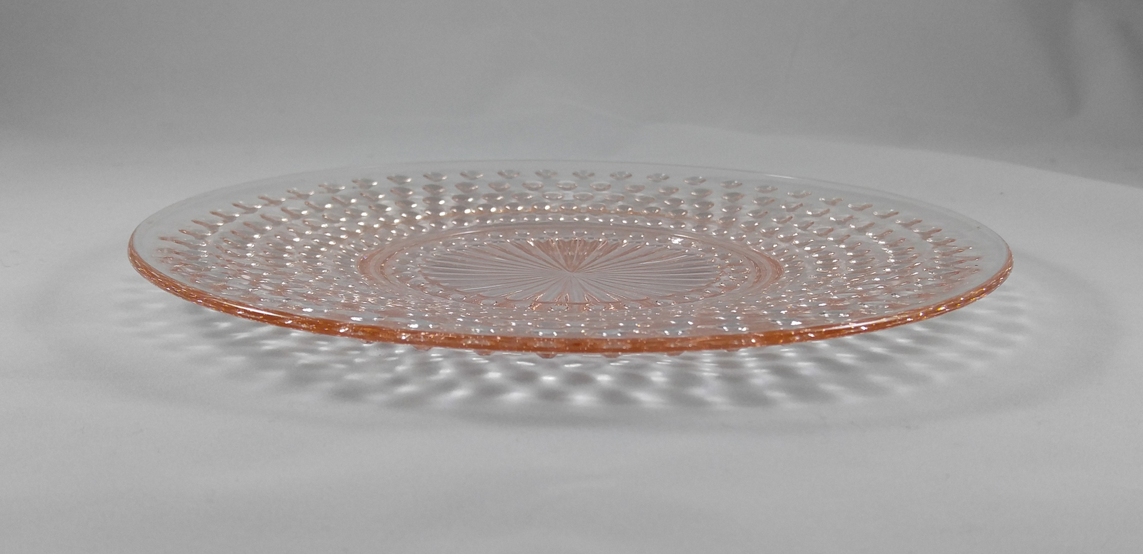 """Depression Glass Anchor Hocking Moonstone Pink Hobnail Luncheon Plate - 8 ½"""""""