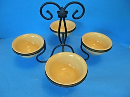 LONGABERGER POTTERY BUTTERNUT DESSERTBOWL SET WITH WROUGHT IRON 4-TIER S... - $49.49