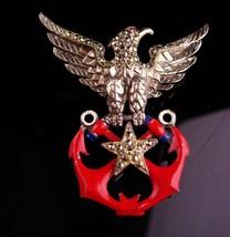 Vintage military brooch - ww11 1940 vintage patriotic brooch - eagle anc... - $225.00