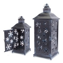Melrose MELROSE 2 Distressed Versatile Snowflake Christmas Candle Lanterns - $155.17