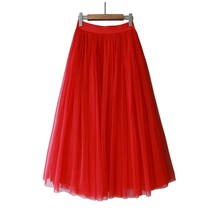 RED Long Tulle skirt Women Red Tulle Long Maxi Skirt Red Wedding Party Skirts image 3