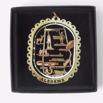 Alabama Brass Ornament Travel State Landmarks Black Leatherette Gift Box - $13.95