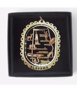 Alabama Brass Ornament Travel State Landmarks Black Leatherette Gift Box - $13.95