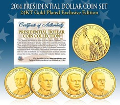 2014 MINT 24K GOLD USA PRESIDENTIAL $1 DOLLAR 4 COIN SET Completed - $21.03