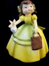 "Lefton Little Girl Figurine #KW4735 Yellow Dress Bow Vintage 4"" Tall - $24.25"