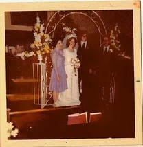 Old Vintage Photograph Bride and Groom On the Altar At Church - $6.93