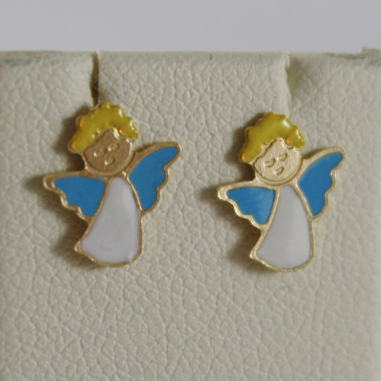 18K YELLOW GOLD CHILD ANGEL ANGELS MINI EARRINGS, GLAZED, FLAT, MADE IN ITALY