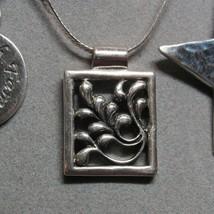 VTG STERLING SILVER Rectangle Picture Frame Leaf Pendant Necklace 14.4 G... - $36.61
