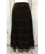 Tiered Brn Velvet (Sz S/M) Crinkle Boho Hippie Gypsy Sequins Maxi Womens... - $14.24