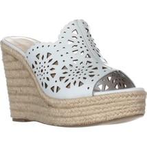 Nine West Derek Wedge Scalloped Sandals, White, 9 US - $35.70