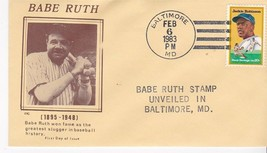 BABE RUTH #2046 STAMP UNVEILED BALTIMORE, MD 2/6/1983 MC CACHET - ₹217.21 INR