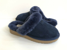 UGG COZY NAVY SUEDE SHEARLING LINED SLIP ON SLIPPERS US 6 / EU 37 / UK 4 - $101.92