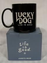 Life is Good Coffee Cup Mug Lucky Dog Jake's Black New Open Box - $24.29