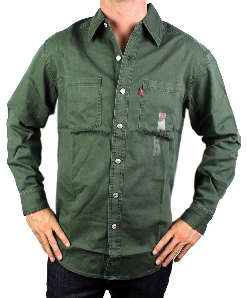 NEW LEVI'S MEN'S COTTON LONG SLEEVE DENIM BUTTON UP DRESS SHIRT GREEN #81059