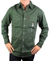 NEW LEVI'S MEN'S COTTON LONG SLEEVE DENIM BUTTON UP DRESS SHIRT GREEN #81059