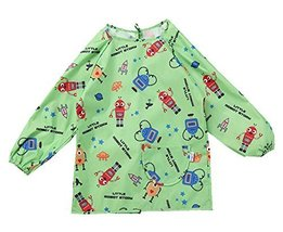 New GREEN Robot Waterproof Sleeved Bib Kids Painting Smock (90-110CM Height)