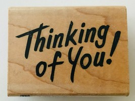 "Thinking of You! Stampendous H68 Rubber Stamp 1992 Brush Script 2.25 x 1.5"" - $4.99"
