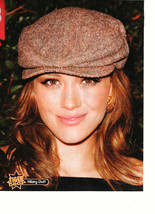 Hilary Duff teen magazine pinup clipping brown hat close up curly hair T... - $3.50