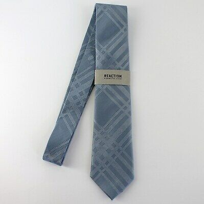 Kenneth Cole Reaction Neck Tie Blue Texture Grid 100% Silk Mens New