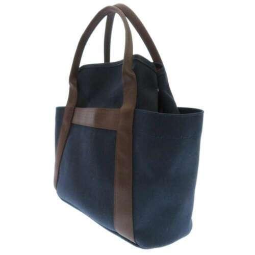 HERMES Sac de Pansage Groom Cotton Canvas Navy Brown Feu Tote Bag #D Authentic image 2