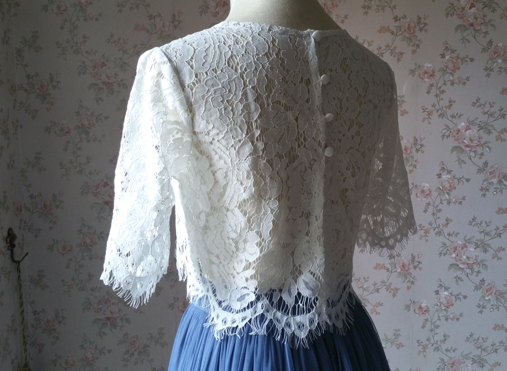 White lace top vneck 8