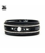 Bracelets For Women Men New Simulated Pearl Vintage Multiple Layers Leather - $7.11